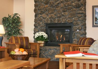 Mosaic Management's Canyon Rim Senior Living Fireplace in lounge
